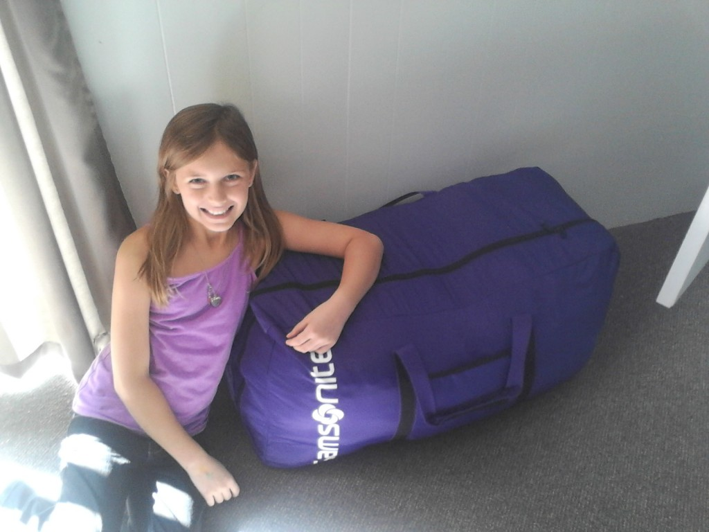 The very first bag packed! It weighs 46 pounds - four pounds under the allowed weight at the airport.