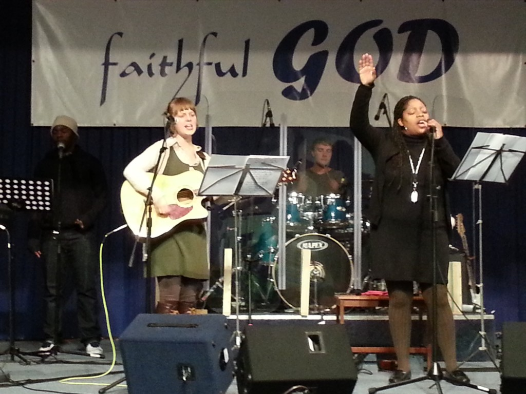 Rachael playing in the worship band.