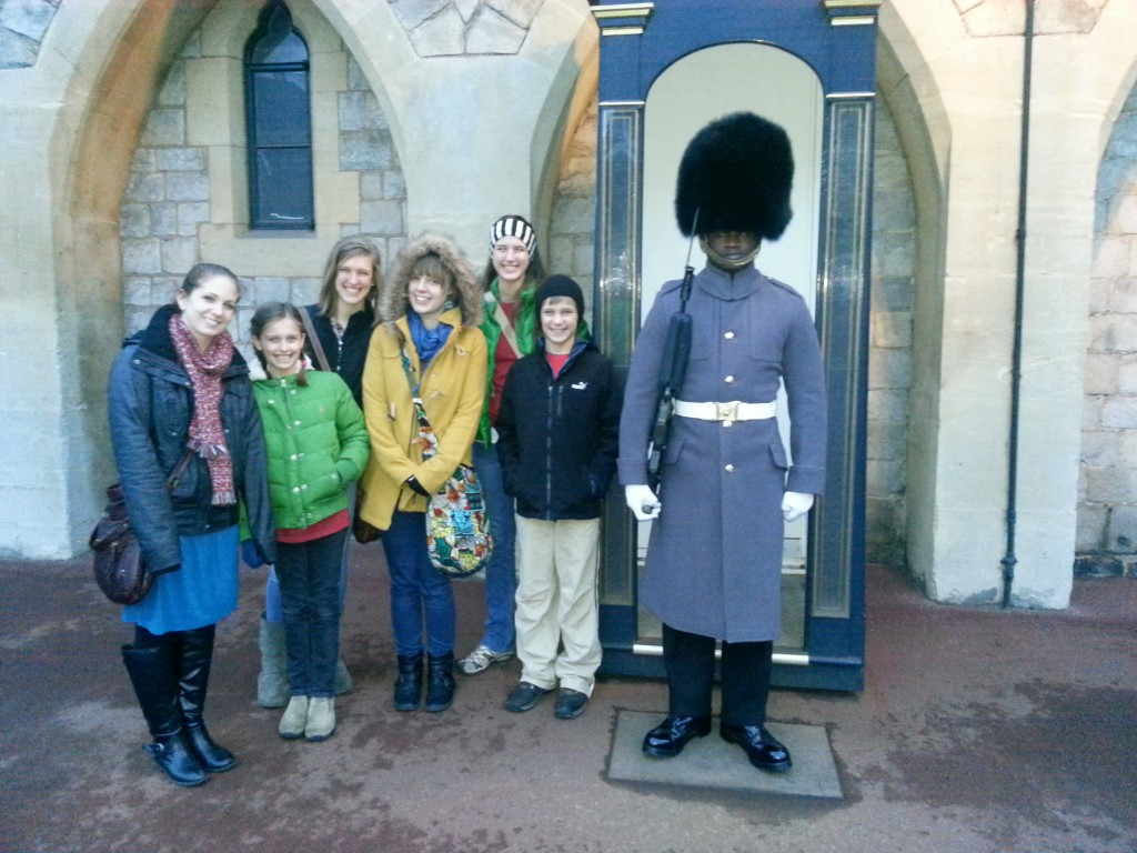 Standing beside one of the Royal Guard. We weren't allowed to talk or touch him...