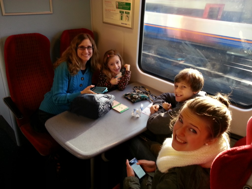 Riding in the train, we happened to get seats with a handy table!!