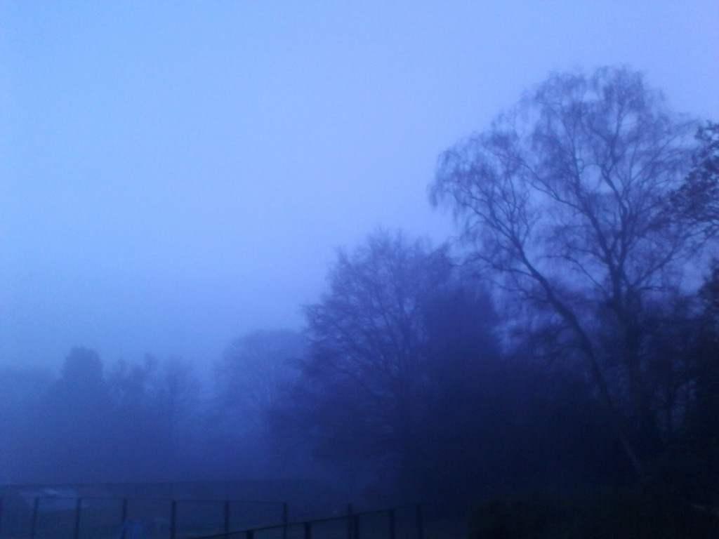 England weather... so unpredictable... one day you can't see ten feet in front of you because the day-long fog is so thick... the next morning its bright and sunny and that afternoon its raining... (This picture had no editing done to it, the outdoor light was literally blue tinged)